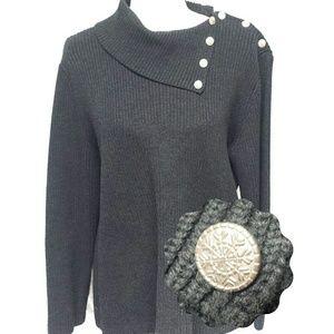 LRL Snowflake Button Shoulder Sweater Grey Large